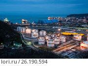 Купить «Краснодарский край, Туапсе, нефтебаза и морской порт, вид сверху», фото № 26190594, снято 21 марта 2019 г. (c) glokaya_kuzdra / Фотобанк Лори