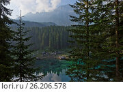 Купить «Alps, Lake Carezza, Italy, Europe», фото № 26206578, снято 25 июня 2019 г. (c) easy Fotostock / Фотобанк Лори