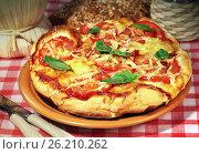 Купить «Italian food pizza Margarita», фото № 26210262, снято 12 декабря 2012 г. (c) ElenArt / Фотобанк Лори