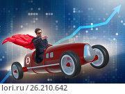 Купить «The superhero businessman driving vintage roadster», фото № 26210642, снято 4 апреля 2020 г. (c) Elnur / Фотобанк Лори