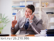 Купить «The angel investor concept with businessman and wings», фото № 26210986, снято 3 февраля 2017 г. (c) Elnur / Фотобанк Лори