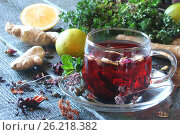 Tea from herbs with ginger, lemon in a rustic style. Стоковое фото, фотограф Наталья Майорова / Фотобанк Лори