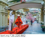 Купить «Выставка модной одежды  Moschino. ГУМ. Москва», эксклюзивное фото № 26220882, снято 5 мая 2017 г. (c) Виктор Тараканов / Фотобанк Лори