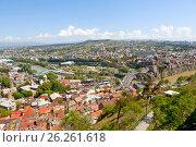 Купить «Панорама Тбилиси с высоты. Грузия», фото № 26261618, снято 1 мая 2017 г. (c) Сергей Афанасьев / Фотобанк Лори