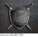 Купить «Medieval shield with two crossed swords over scales armor 3d illustration», иллюстрация № 26261778 (c) Андрей Кузьмин / Фотобанк Лори