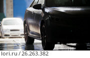 Купить «Professional car washing in auto service, silhouette», видеоролик № 26263382, снято 26 марта 2019 г. (c) Константин Шишкин / Фотобанк Лори