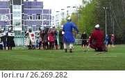 Купить «Moscow - May,13. Reconstraction of medieval battle.», видеоролик № 26269282, снято 15 мая 2017 г. (c) Георгий Дзюра / Фотобанк Лори