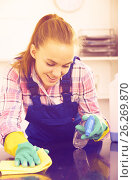 Купить «girl cleaning table with cloth», фото № 26269870, снято 23 мая 2018 г. (c) Яков Филимонов / Фотобанк Лори