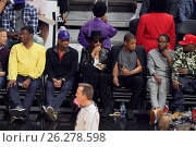 Купить «Celebrities at the Los Angeles Clippers game. The Golden State Warriors defeated the Los Angeles Clippers by the final score of 115-112 at Staples Center...», фото № 26278598, снято 20 февраля 2016 г. (c) age Fotostock / Фотобанк Лори