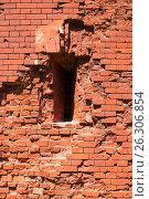 Купить «Брестская крепость. Фрагмент стены с бойницей», фото № 26306854, снято 21 апреля 2017 г. (c) Дмитрий Грушин / Фотобанк Лори