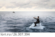 Купить «Surfing sea on ice floe. Mixed media», фото № 26307394, снято 2 февраля 2017 г. (c) Sergey Nivens / Фотобанк Лори