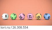 Купить «Composite image of line of lottery balls», иллюстрация № 26308554 (c) Wavebreak Media / Фотобанк Лори