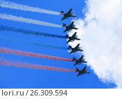 Russian tactical  aircraft in flight. Стоковое фото, фотограф Владимир Приземлин / Фотобанк Лори