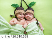 Купить «Twins brothers babies weared in acorn hats», фото № 26310538, снято 26 сентября 2012 г. (c) Оксана Кузьмина / Фотобанк Лори