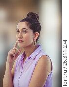 Купить «Thoughtful female hipster looking away», фото № 26311274, снято 22 июля 2019 г. (c) Wavebreak Media / Фотобанк Лори