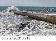 Купить «Чёрное море, волны, спасательный круг на пирсе», эксклюзивное фото № 26313218, снято 26 сентября 2016 г. (c) Dmitry29 / Фотобанк Лори