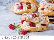 Choux cake Paris Brest with raspberries. Стоковое фото, фотограф Natasha Breen / Фотобанк Лори
