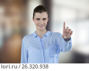 Купить «Happy businesswoman touching futuristic screen», фото № 26320938, снято 4 июля 2020 г. (c) Wavebreak Media / Фотобанк Лори
