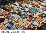 Купить «Moscow, Russia - may 07.2017. Trade badge of times of the USSR», фото № 26328186, снято 6 мая 2017 г. (c) Володина Ольга / Фотобанк Лори