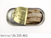 Купить «Sprats in a metallic can», фото № 26335462, снято 10 декабря 2016 г. (c) Евгений Дробитько / Фотобанк Лори