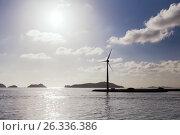 Купить «turbines at wind farm on sea shore», фото № 26336386, снято 8 февраля 2017 г. (c) Syda Productions / Фотобанк Лори