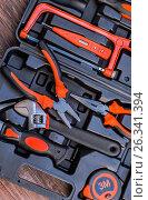Everyday instruments. Mend and repair. Set of tools. Home tool kit. Стоковое фото, фотограф Nunik Varderesyan / Фотобанк Лори