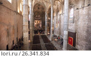 Church of Santa Maria in Jeronimos Monastery in Lisbon, Portugal, видеоролик № 26341834, снято 11 мая 2017 г. (c) Лиляна Виноградова / Фотобанк Лори