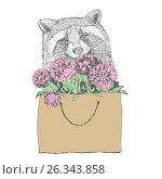 Happy cute raccoon with the package colors. Стоковая иллюстрация, иллюстратор Юлия Дакалова / Фотобанк Лори