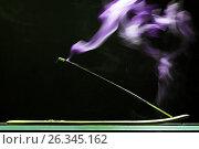 Купить «Ароматическая палочка тлеет испуская дым», фото № 26345162, снято 22 мая 2017 г. (c) Круглов Олег / Фотобанк Лори