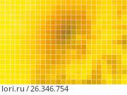 Купить «Bright golden yellow square mosaic background over white», иллюстрация № 26346754 (c) TasiPas / Фотобанк Лори