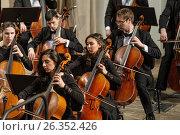 Купить «Instruments Symphony Orchestra on stage», фото № 26352426, снято 25 января 2017 г. (c) Сергей Буторин / Фотобанк Лори