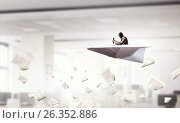 Купить «Aviator in origami plane. Mixed media», фото № 26352886, снято 23 июля 2018 г. (c) Sergey Nivens / Фотобанк Лори
