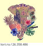 Watercolor illustration of indian elephant head. Стоковое фото, фотограф Irene Shumay / Фотобанк Лори
