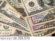 Купить «Money background from dollars usa», фото № 26358570, снято 6 мая 2017 г. (c) Валерий Бочкарев / Фотобанк Лори