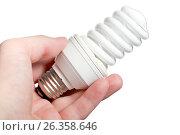 Купить «Энергосберегающая лампа в руке на белом фоне», фото № 26358646, снято 7 июля 2011 г. (c) Александр Гаценко / Фотобанк Лори