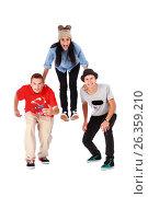Three young teenagers have fun, фото № 26359210, снято 5 сентября 2012 г. (c) Tatjana Romanova / Фотобанк Лори