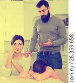 Купить «Father lecturing wife and daughter», фото № 26359658, снято 19 марта 2019 г. (c) Яков Филимонов / Фотобанк Лори