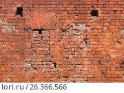 Купить «Брестская крепость. Фрагмент стены с бойницей», фото № 26366566, снято 21 апреля 2017 г. (c) Дмитрий Грушин / Фотобанк Лори