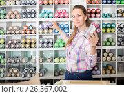 Купить «portrait of woman choosing paint color in aerosol can in art shop», фото № 26367002, снято 12 апреля 2017 г. (c) Яков Филимонов / Фотобанк Лори