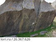 Купить «Primeval man settlement with petroglyphs. Gobustan, Azerbaijan», фото № 26367626, снято 26 апреля 2017 г. (c) Аркадий Захаров / Фотобанк Лори
