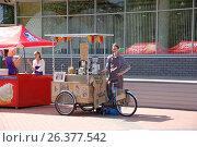 Купить «Велокофейня. Продажа кофе на городских улицах.», эксклюзивное фото № 26377542, снято 12 июня 2016 г. (c) Галина Шорикова / Фотобанк Лори