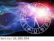 Купить «Composite image of graphic image of clock with various zodiac signs», иллюстрация № 26380994 (c) Wavebreak Media / Фотобанк Лори