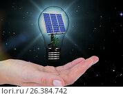 Купить «solar panel on a light on hand. night», фото № 26384742, снято 17 февраля 2019 г. (c) Wavebreak Media / Фотобанк Лори
