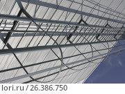 Купить «Metal safety staircase near wall of building», фото № 26386750, снято 13 сентября 2009 г. (c) Константин Шишкин / Фотобанк Лори