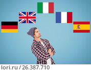 Купить «main language flags around young man thinking. Blue background», фото № 26387710, снято 20 августа 2018 г. (c) Wavebreak Media / Фотобанк Лори