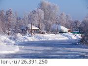Купить «Altai russian country village Talitsa under winter snow on bank of river», фото № 26391250, снято 19 января 2017 г. (c) Serg Zastavkin / Фотобанк Лори