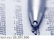 Купить «Шариковая ручка крупным планом на газете с финансовыми новостями», фото № 26391506, снято 5 марта 2010 г. (c) Александр Гаценко / Фотобанк Лори