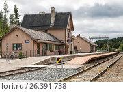 Купить «Железнодорожная станция г. Толга, Норвегия», фото № 26391738, снято 10 августа 2011 г. (c) Юлия Бабкина / Фотобанк Лори