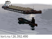Лодка и баржа. Стоковая иллюстрация, иллюстратор Сергей Куранов / Фотобанк Лори