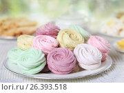 Купить «Delicate homemade zephyr or marshmallows», фото № 26393518, снято 25 мая 2017 г. (c) Алексей Кузнецов / Фотобанк Лори